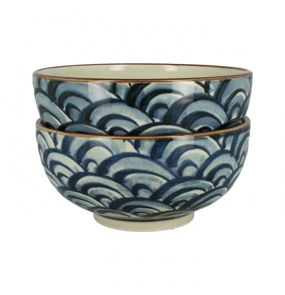 "Set of 2 large wave ""ramen"" bowls"