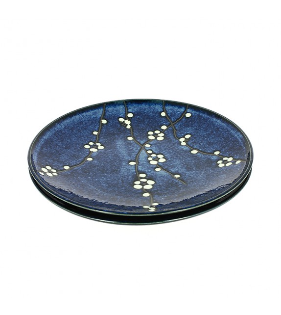 Set of 2 plates cherry blue