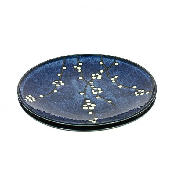Set of 2 plates cherry blue