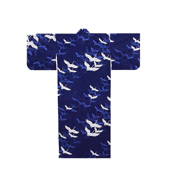 Yukata storch blau