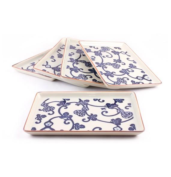 Set de 5 plats floraux en porcelaine
