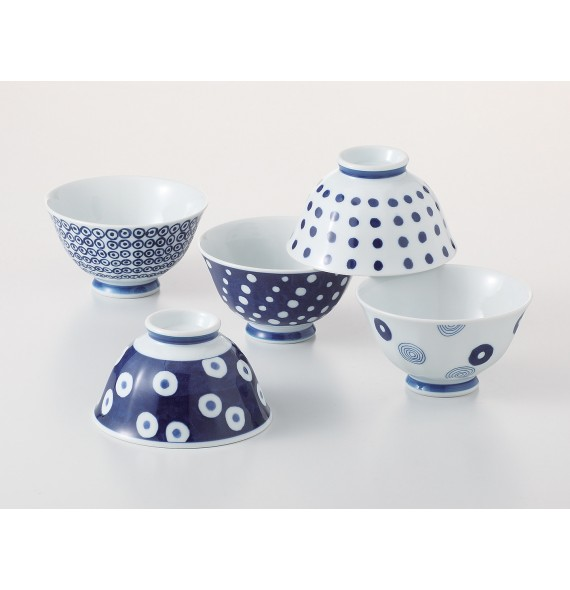 Set of 5 bowls indigo