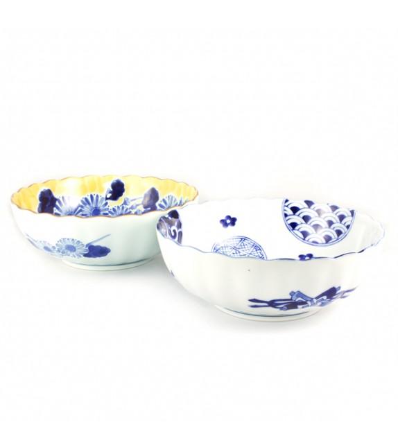 Set di 2 ciotole di insalata-giallo/bianco
