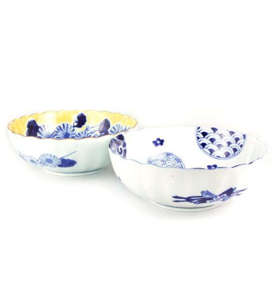 Set of 2 salad bowls-yellow/white