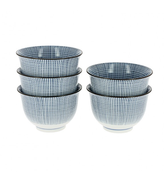 Set de 5 tasses lignées