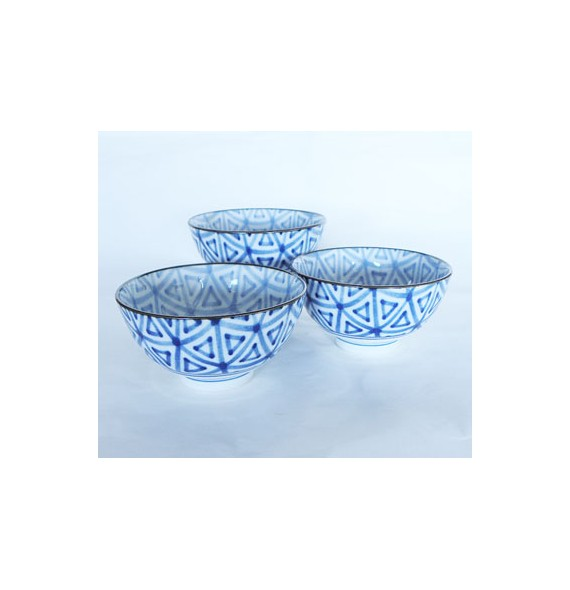 Set of bowl with pattern rectangle