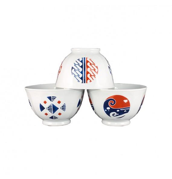 Set of 3 bowls white logo