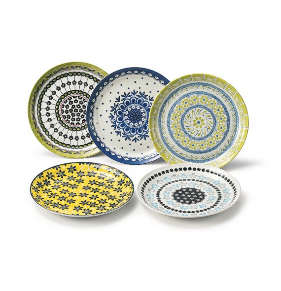 "Set de 5 assiettes ""pottery field"""