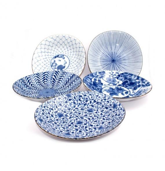 Set of 5 dinner plates in porcelain