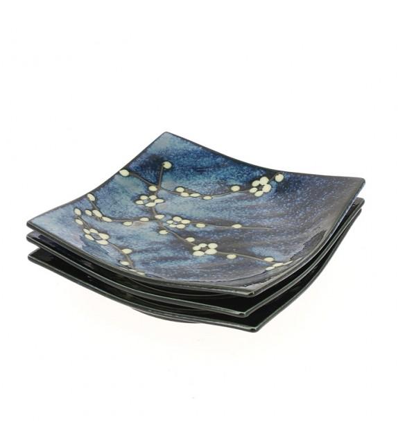Set di 3 piatti blu