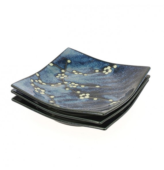 Set of 3 dishes blue